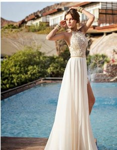 IZIDRESS Ivory Chiffon A-line/Princess Halter Sweep/Brush Train Lace Casual Wedding Dress Size 8 (M)