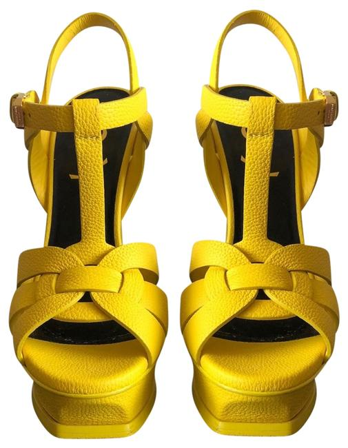 Item - Yellow Tribute Ysl In Smooth Leather Sandals Size US 4 Regular (M, B)