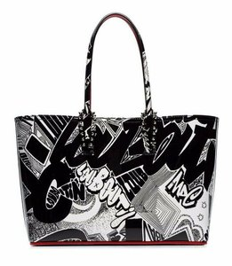 Christian Louboutin Studded Classic Quilted Fanny Cabata Tote in Black