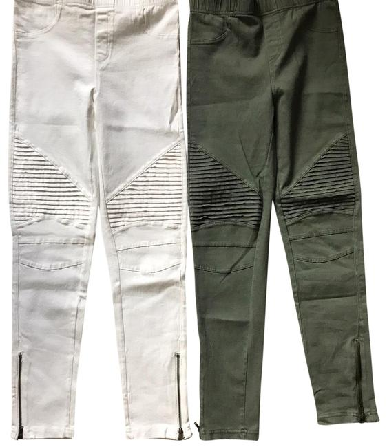 Item - Olive Green and White Moto Jegging Skinny Jeans Size 6 (S, 28)