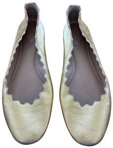 Chloé Leather Perforated Ballet gold Flats
