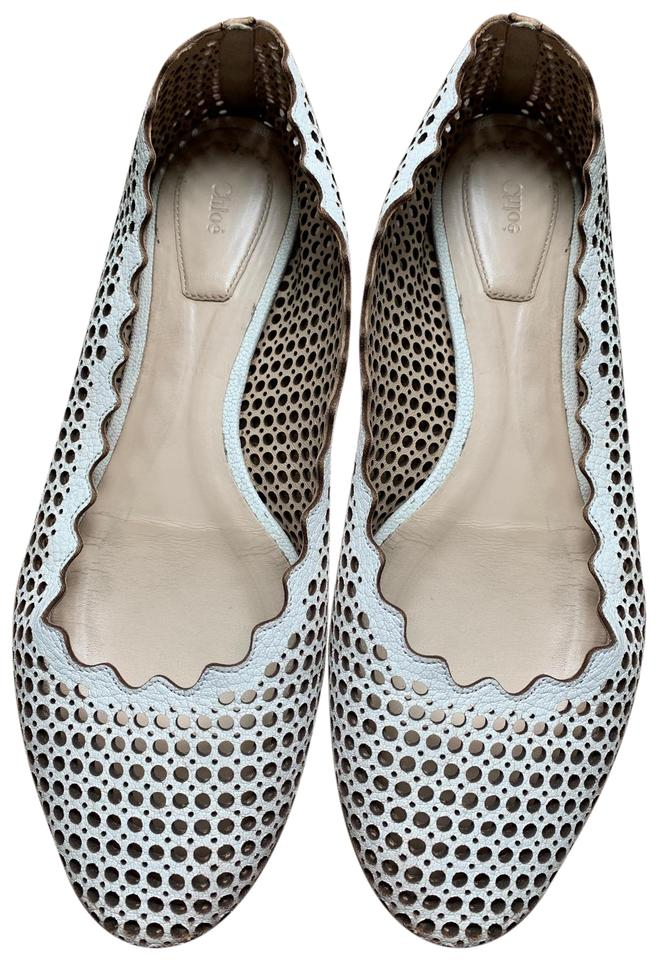 e4205179f Chloé White Lauren Perforated Ballet Flats Size EU 38.5 (Approx. US ...