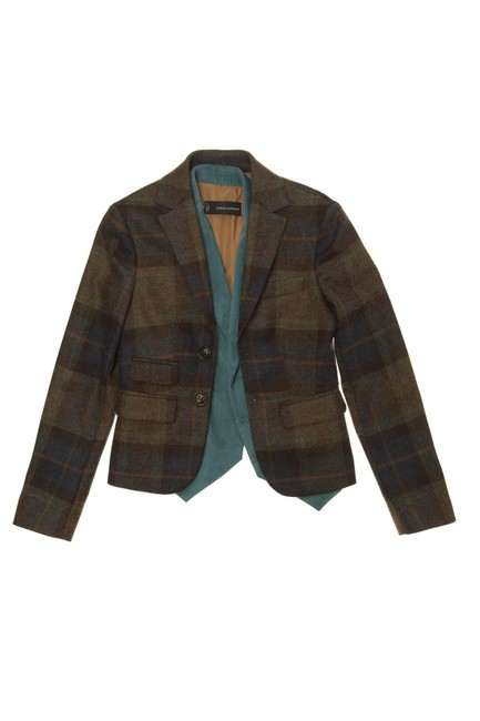 Item - Brown Plaid Teal Blazer with Vest Attached Jacket Size 8 (M)