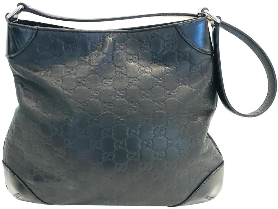 3487b3b2c Gucci Guccissima Black Signature Leather Shoulder Bag - Tradesy