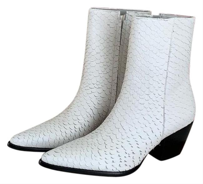 Item - White Textured Leather Caty Snake Boots/Booties Size US 7 Regular (M, B)
