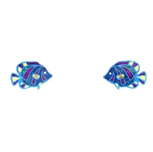 Chanel RARE CC clear glitters fishes gold hardware pierced stud earrings