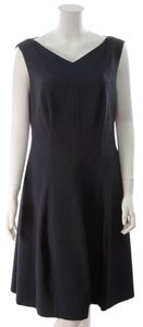 Talbot Runhof Talbot Runhof Pleated Sleeveless Dress - Navy Size 14