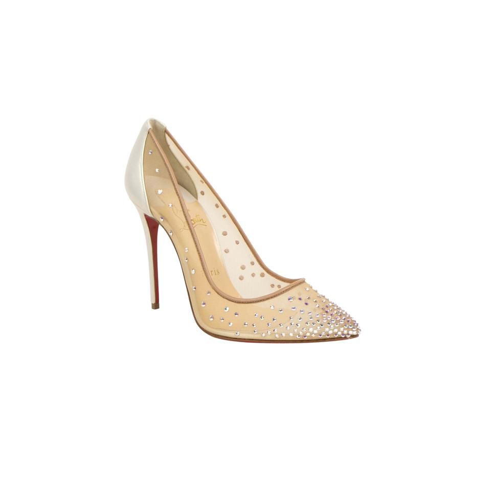 outlet store aaf7c 62732 Christian Louboutin Beige 'follies Strass' Mesh 100mm Pumps Size EU 34  (Approx. US 4) Regular (M, B) 32% off retail