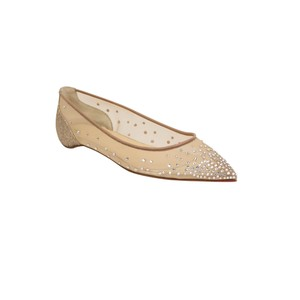 Christian Louboutin Pointed Toe Studded Crystal Mesh Beige Flats