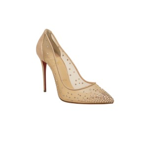 Christian Louboutin Mesh Pointed Toe Crystal Studded Leather Beige Pumps