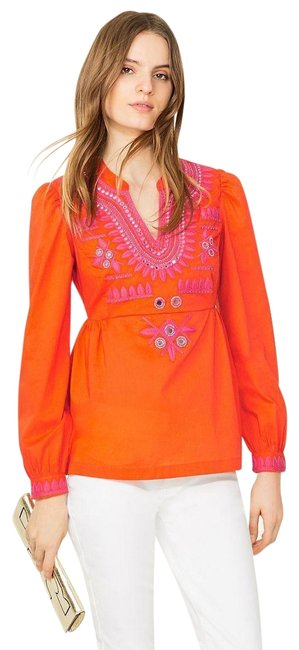 Preload https://img-static.tradesy.com/item/25446220/tory-burch-orange-embroidered-claudia-and-mirrored-tunic-size-6-s-0-1-650-650.jpg