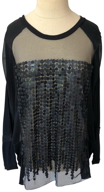 Item - Black Anthropologie Appollo Sheer Leather Disc Blouse Size 4 (S)