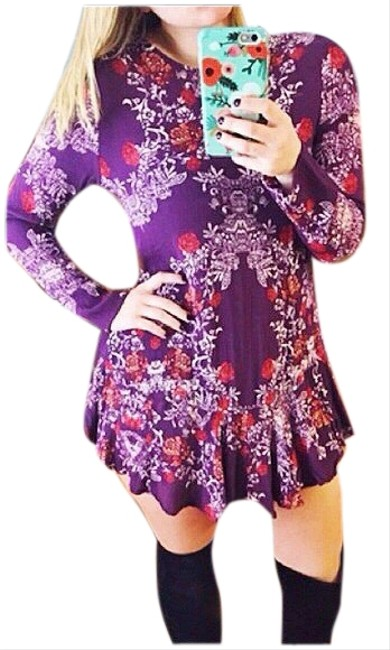 Item - Smooth Talker Plumberry Floral Cut Out Keyhole Long Sleeve Short Casual Dress Size 0 (XS)