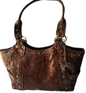 American West Bag Over The Rainbow Hand Tooled Brown Leather Tote 57 Off Retail