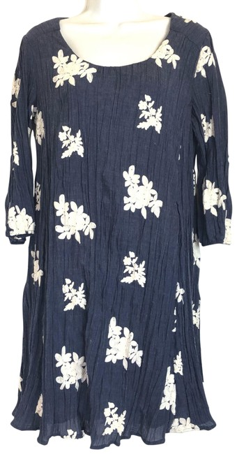 Item - Blue White Floral Embroidered Long Sleeve Short Casual Dress Size 8 (M)