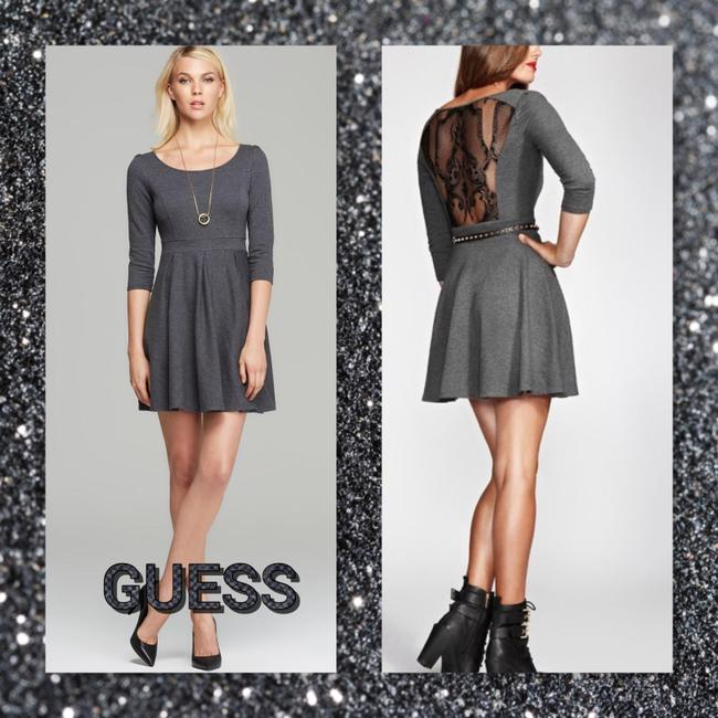 Item - Charcoal Gray/Black Fit and Large Short Work/Office Dress Size 14 (L)