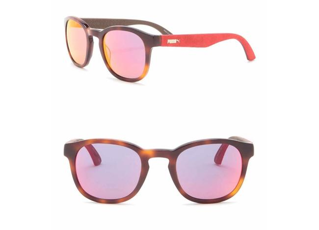 Item - Red New - Suede 49mm Rounded Sunglasses