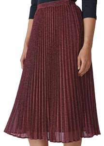 82a02afb77 Whistles Wine Sparkle Pleated Skirt Size 4 (S, 27) - Tradesy