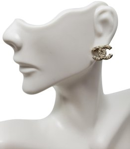 Chanel Gold-tone Chanel faux pearl Strass interlocking CC earrings