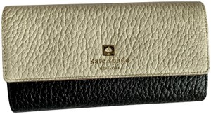 Kate Spade Kate Spade Southport Avenue Sandra Black Porcelain Leather Tri-Fold