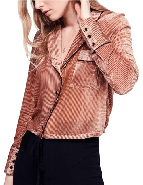 Item - Rose Gold / Clay Aspen Nights Velvet Button-down Top Size 8 (M)