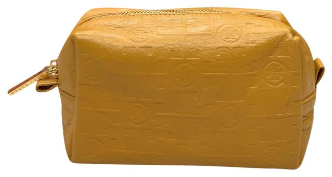 Item - Mustard Leather Embossed Makeup Pouch Cosmetic Bag