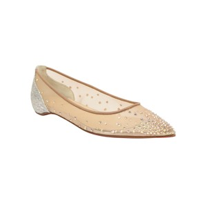 Christian Louboutin Pointed Toe Studded Crystal Mesh Beige/Silver Flats