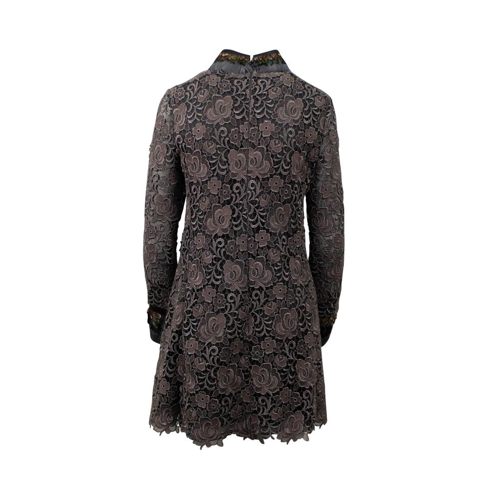 Valentino Brown Embroidered With Feather Collar Long Sleeve Mid Length Night Out Dress Size 2 Xs 69 Off Retail