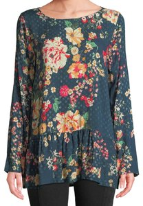 421cf31991d Johnny Was Scopp Neck Relaxed Fit Vibrant Floral Ruffled Hem Top Multi