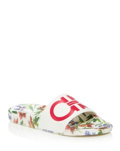 Salvatore Ferragamo Groove Floral Slide White Sandals