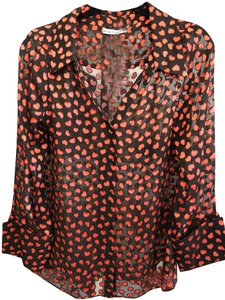 Alice + Olivia Ralph Lauren Label Paisley Embroidered Button Down Shirt Black/Red