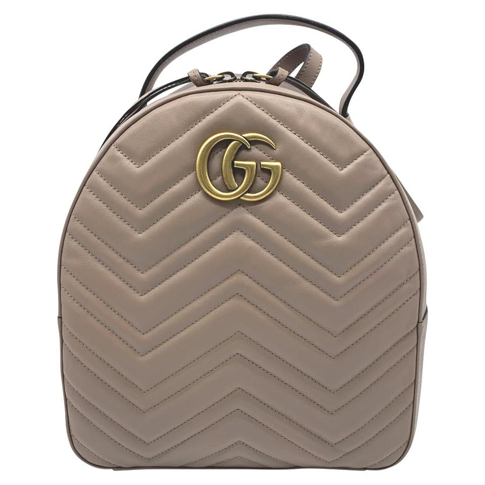 506534a21 Gucci GG Marmont Calfskin Matelasse Porcelain Rose Pink Quilted Leather  Backpack