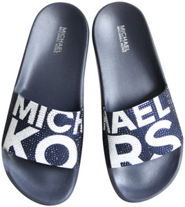 Michael Kors Mk Logo Slide Embellished Signature Blue Sandals