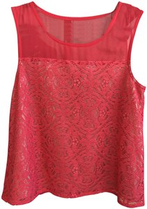 Marc by Marc Jacobs Sleeveless Lace Top Fiery Fuschia