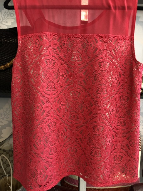 Marc by Marc Jacobs Sleeveless Lace Top Fiery Fuschia Image 7
