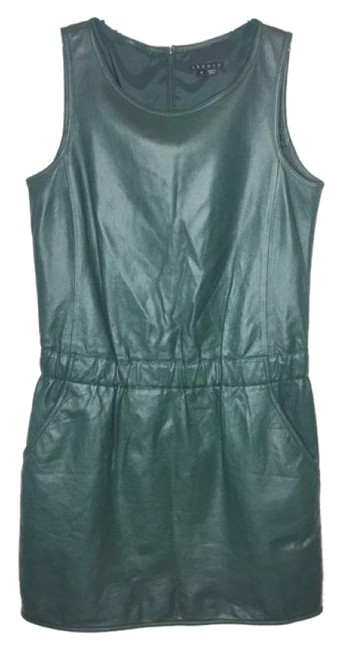 Item - Dark Forest Green Lambs Leather Sleeveless Butter Soft Cocktail Party Short Night Out Dress Size 0 (XS)