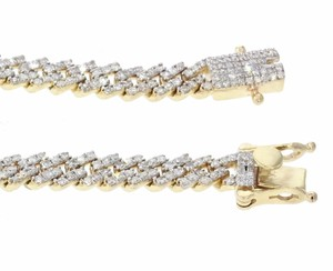 Yellow Gold with Diamond 10k Mens Or Womens Bracelet