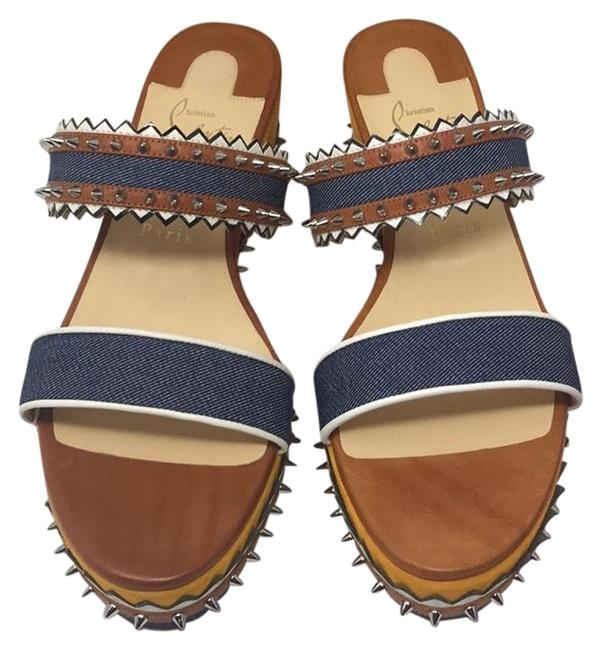 Item - Blue Brown Yellow White New Wedges Size EU 40.5 (Approx. US 10.5) Regular (M, B)