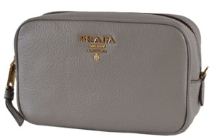 Prada New Prada 1ND007 Grey Textured Grain Leather Logo Cosmetic Bag