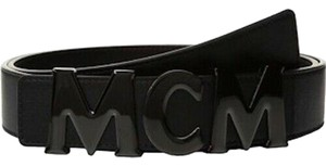 MCM BRAND NEW UNISEX MCM BLACK SMOOTH LEATHER GLOSS BUCKLE HOOK BELT