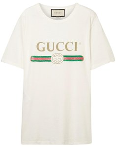 7a6a0f5f Gucci White Oversize T-shirt with Logo and Tigers Tee Shirt Size 4 ...