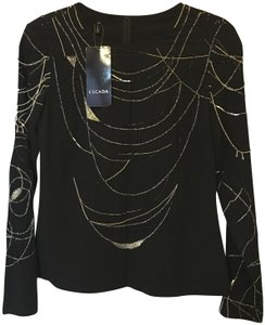Escada Silk Formal Evening Silver & Gold Accent Size 6 S Small New With Tags Top Black