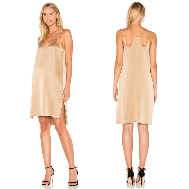 Halston Camel Tan Gold Slip Short Night Out Dress Size 2 (XS) Halston Camel Tan Gold Slip Short Night Out Dress Size 2 (XS) Image 1