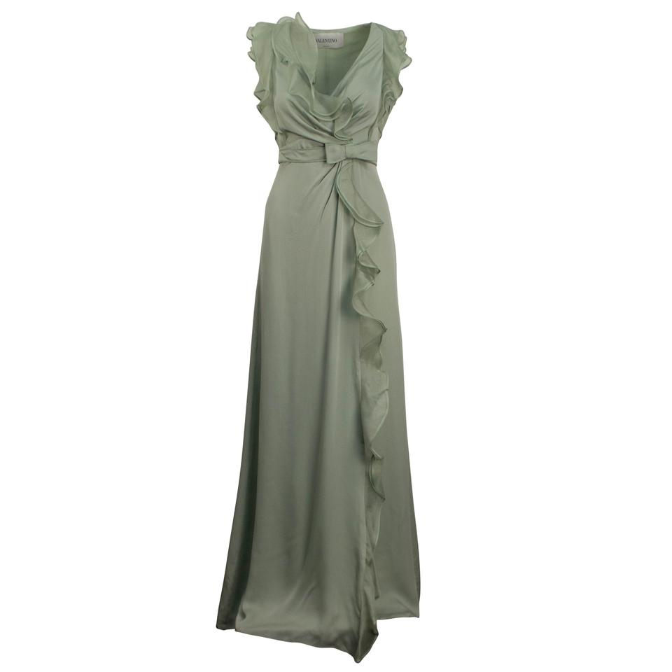 9562e08a5186 Valentino Green Silk Ruffle Trim Evening Gown Long Cocktail Dress ...