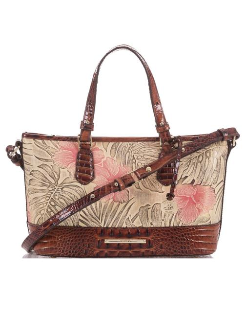 Brahmin Mini Asher Amina Pecan Leather Satchel Brahmin Mini Asher Amina Pecan Leather Satchel Image 1