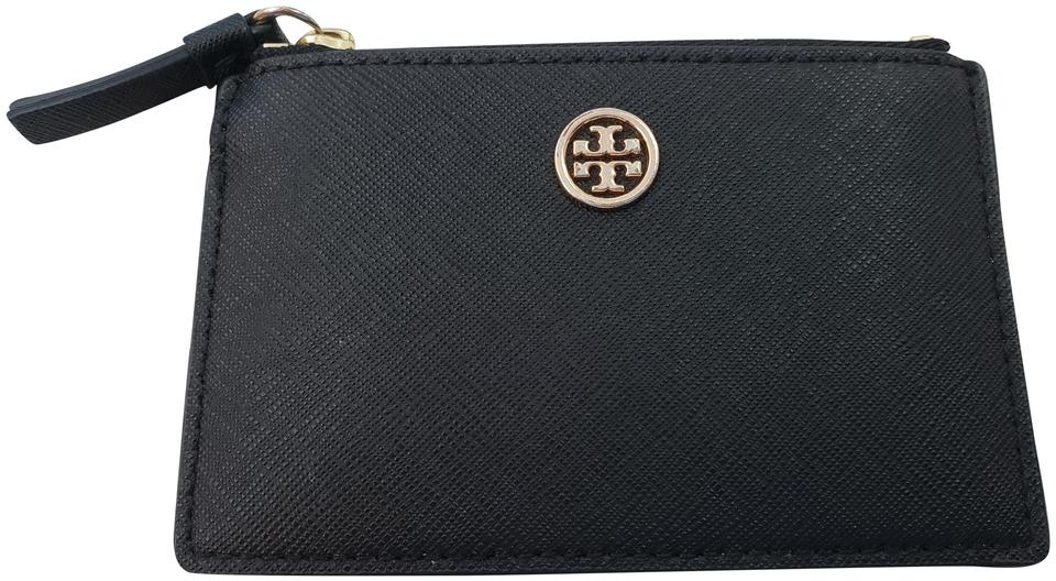 wholesale dealer b5389 a53b1 Tory Burch Black Robinson New with Tags Leather Card Case Zipper Key Watch  43% off retail