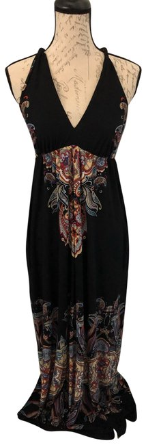 Black/Multi Hand Made In The Usa Long Casual Maxi Dress Size 6 (S) Black/Multi Hand Made In The Usa Long Casual Maxi Dress Size 6 (S) Image 1