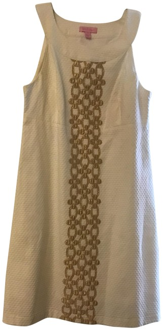 Item - White with Gold Accents Shift Short Casual Dress Size 4 (S)