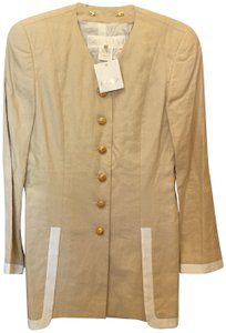 Escada Linen Gold Star Buttons Size 6 S Small New With Tags Beige and White Blazer