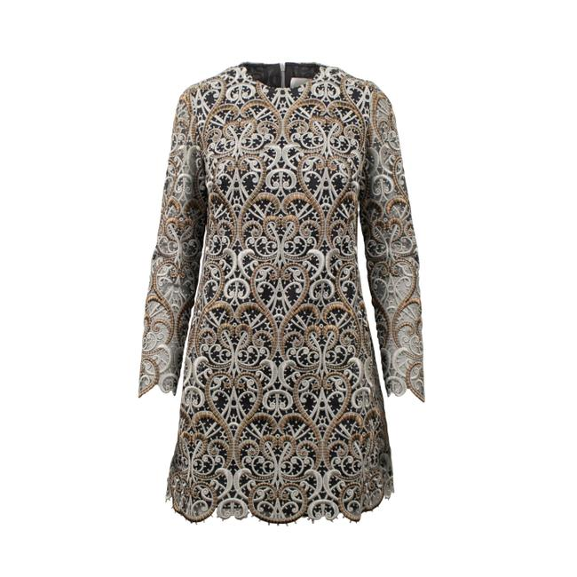 Item - Gold/Silver Embroidered Long Sleeve Short Formal Dress Size 4 (S)